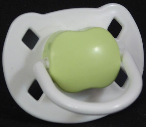 "<div style=""display: none;"">9472</div> White & green Spanish style dummy with Nuk teat"