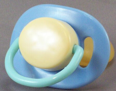 "<div style=""display: none;"">9372</div> blue, cream & lt.green dummy with Nuk teat"