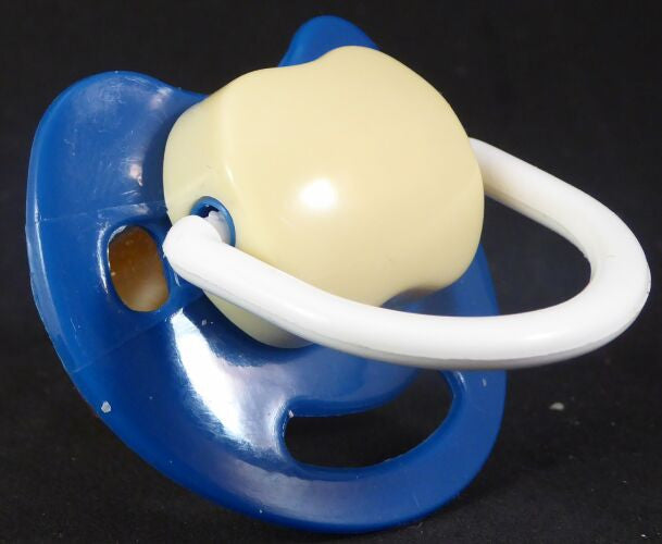 "<div style=""display: none;"">9522</div> Dark blue, cream & white Spanish style dummy with Nuk teat"