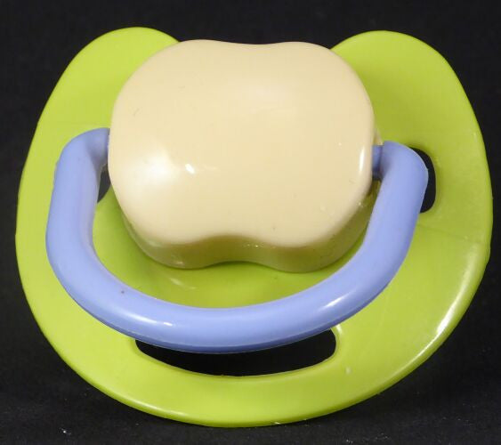 "<div style=""display: none;"">9526</div> Green & cream & purple  Spanish style dummy with Nuk teat"