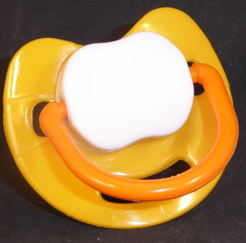 "<div style=""display: none;"">9531</div> Yellow & White and Orange Spanish style dummy with Nuk teat"