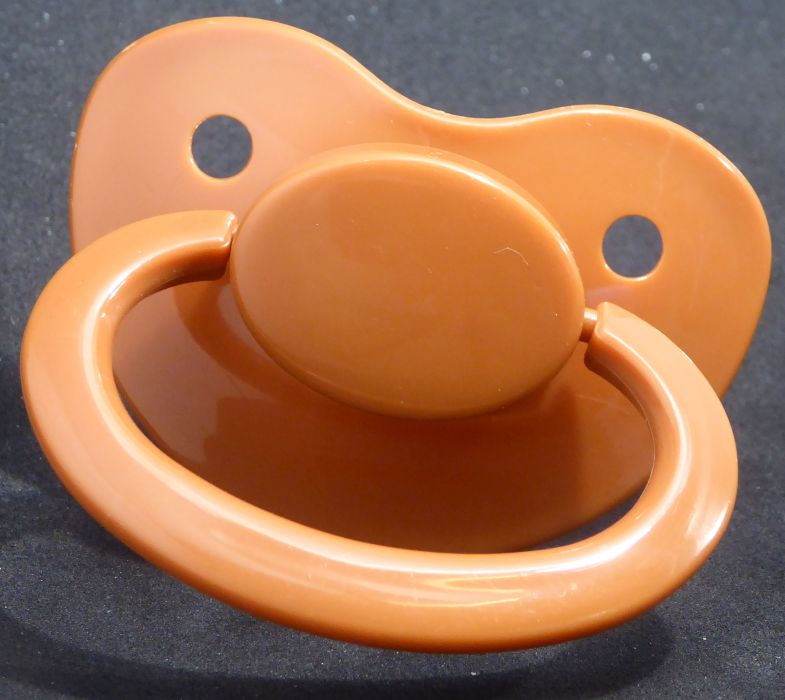 "<div style=""display: none;"">9609</div>9609 Brown Adult Sized Shield,  Pacifier, with Latex or Silicon teat"