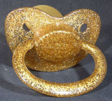 "<div style=""display: none;"">9623</div>9623 Transparent glitter gold Adult Sized Shield,  Pacifier, with Latex or Silicon teat"