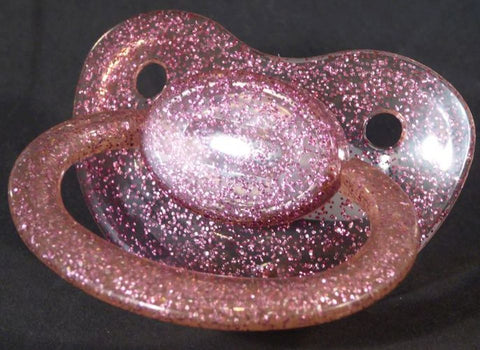"<div style=""display: none;"">9624</div>9624 Transparent glitter purple Adult Sized Shield,  Pacifier, with Latex or Silicon teat"