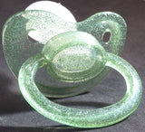 "<div style=""display: none;"">9625</div>9625 Transparent glitter green Adult Sized Shield,  Pacifier, with Latex or Silicon teat"