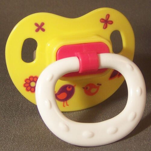 "<div style=""display: none;"">9662</div> yellow with birds decor ""NUK Style"" Pacifier, Dummy, Soother, modified with nuk 4 or 5 teat"