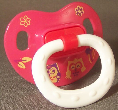 "<div style=""display: none;"">9668</div> red with owl decor ?NUK Style? Pacifier, Dummy, Soother, modified with nuk 4 or 5 teat"