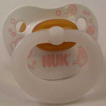 "<div style=""display: none;"">9730</div> white With pink bees NUK , Pacifier, Dummy, nuk 4 or 5 teat"