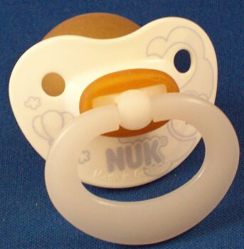 "<div style=""display: none;"">9732</div> white With blue bees NUK , Pacifier, Dummy, nuk 4 or 5 teat"