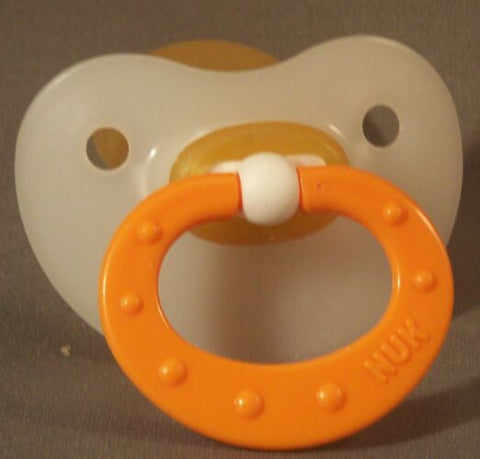 "<div style=""display: none;"">9852</div> Orange Handle NUK 4/5 Adult Baby, Pacifier, Dummy, Soother,"