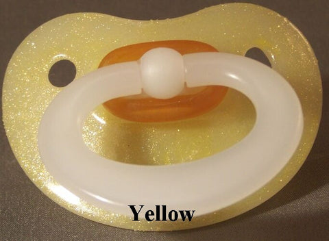 "<div style=""display: none;"">9985</div> NUK Pacifier hand decorated in YELLOW"