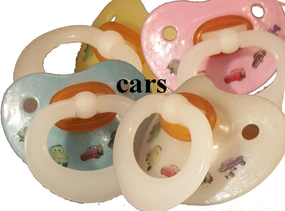 "<div style=""display: none;"">9926</div> NUK pacifier hand decorated with Disney cars, Lightning McQueen and friends"