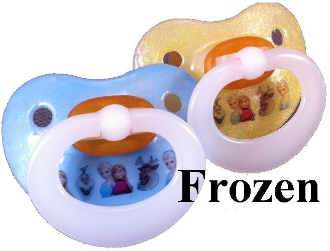 "<div style=""display: none;"">9936</div> NUK pacifier hand decorated with Disney Frozen Characters"