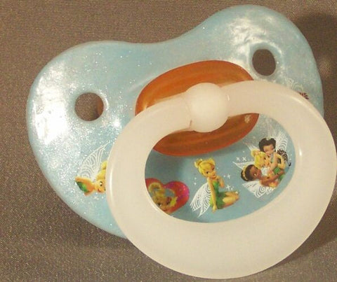 "<div style=""display: none;"">9938</div> NUK pacifier hand decorated with Disney Tinkabelle and friends."