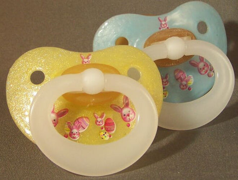 "<div style=""display: none;"">9914</div>  NUK pacifier hand decorated with Easter bunnies"