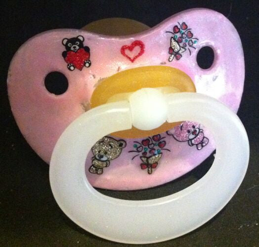 "<div style=""display: none;"">9920</div> NUK pacifier hand decorated with glitter teddy bears"