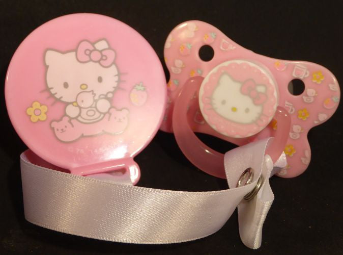 "<div style=""display: none;"">8598</div> Pink Hello Kitty pacifier and clip"