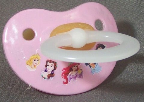 "<div style=""display: none;"">9944</div> NUK pacifier hand decorated with Disney princesses, Arial and friends."