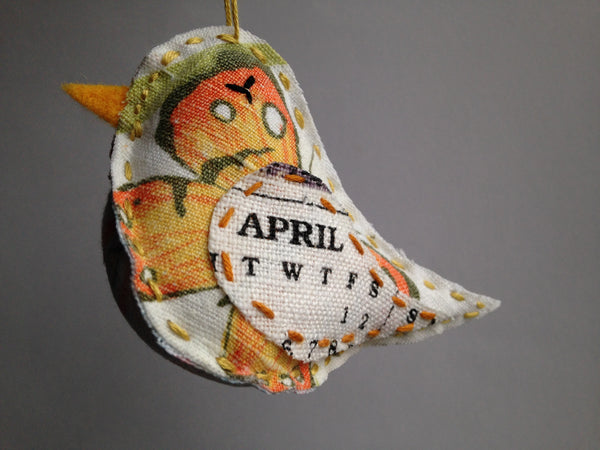 Bird Ornament - April - Repurposed Vintage Calendar Tea Towel - Hand Embroidered