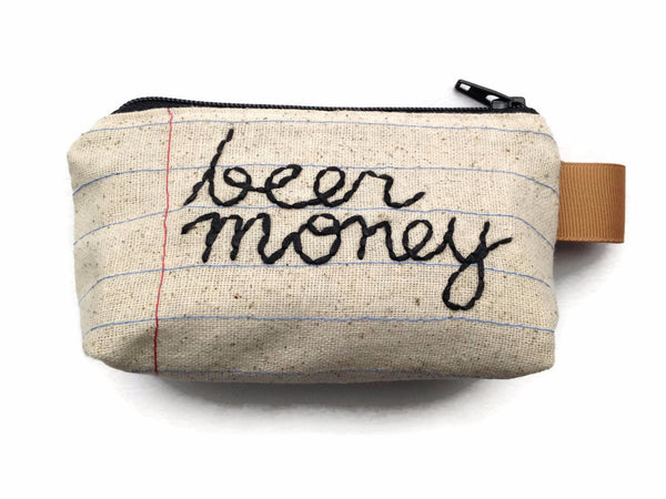 Change Purse - Key Chain - Beer Money - Hand Embroidered - Notebook Paper Fabric - Repurposed Denim Jeans