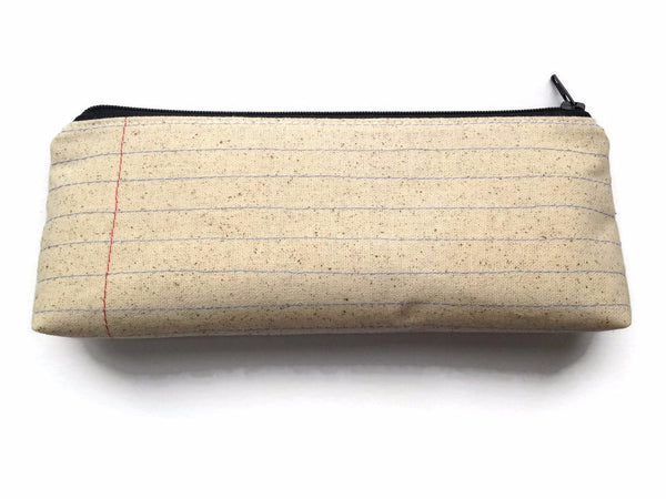 Blank Notebook Paper Fabric Zipper Pouch Pencil Case - Teacher or Student Gift - Makeup Case