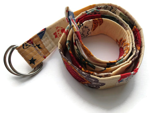 Patchwork Quilted Fabric D Ring Belt - Fun Fabrics - Vegan and Handmade - Made in NJ