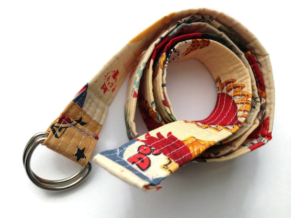 Patchwork Quilted Fabric Belt with D-Rings - One Inch Wide - Fun Japanese Cat Magic Show and Tattoo Flash Fabric