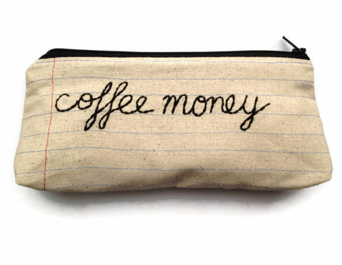 Coffee Money Bag - Coffee Lover's Gift - Handmade in NJ - Unique Notebook Paper Fabric - Zipper Makeup Bag