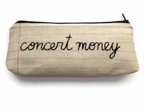 Concert Money - Zipper Pouch - Pencil Case - Notebook Paper Fabric - Hand Embroidered - Ticket Holder - Makeup Bag - Money Bag
