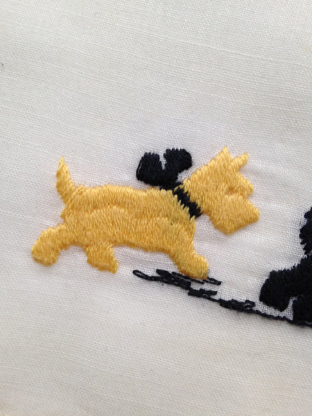 Vintage Hankie - Embroidered Scottie Dogs - Yellow and Black - Dog Lover's Gift