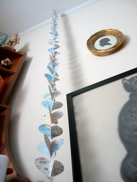 Going Away Party Decorations - National Geographic Atlas Pages - Geography Classroom Paper Heart Garland