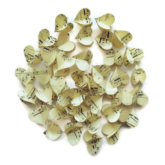 Extra Long Vintage Sheet Music Garland - Paper Heart Decoration - 60 Inches - Music Notes Garland - Classroom Decoration