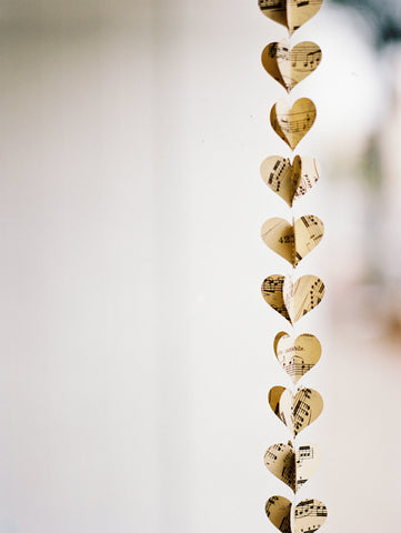 Sheet Music Heart Garland - Vertical Wedding Decoration - Musical Notes - Dorm Room or Classroom Decorations