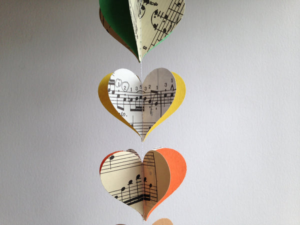 Colorful Notes Heart Garland - Vintage Sheet Music Extra Long - Multi Colored Paper Heart Decoration