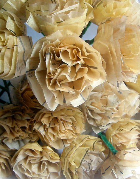 Wholesale - Tissue Paper Flowers - Repurposed Vintage Sewing Patterns - 24 Flowers - Popular Wedding Decoration