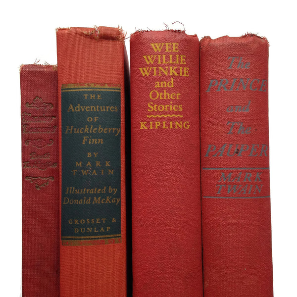 Red Vintage Books - Set of Four - Great for Display - Photo Prop - Nostalgic - Classics Curated for Fun