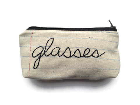 Eyeglass Case Zipper Pouch - Glasses - Hand Embroidered - Great Gift - Sunglasses Bag - Soft Lining