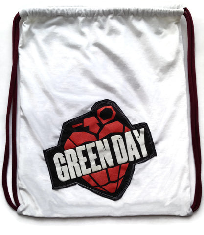 Repurposed Tshirt Back Pack - Green Day Patch on a Seattle Souvenir Tshirt