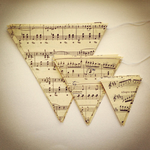 Vintage Sheet Music Bunting - Wholesale - Case Pack of 10