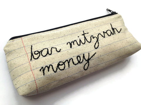 Bar Mitzvah Money Bag - Pencil Case Zipper Pouch - Hand Embroidered Cursive Letters - Fun Handmade Bar Mitzvah Gift - Notebook Paper Fabric