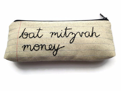 Bat Mitzvah Money Bag - Pencil Case Zipper Pouch - Hand Embroidered Cursive Letters - Fun Handmade Bat Mitzvah Gift - Notebook Paper Fabric