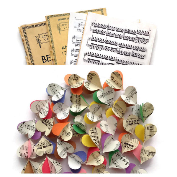 Colorful Notes Heart Garland - Case Pack of 10 - Wholesale - 60 Inches Long