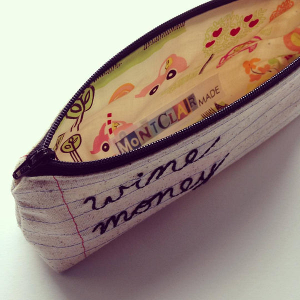 Wine Money Bag - Wine Lovers Gift - Makeup Cosmetics Bag Case - Housewarming - Hand Embroidered
