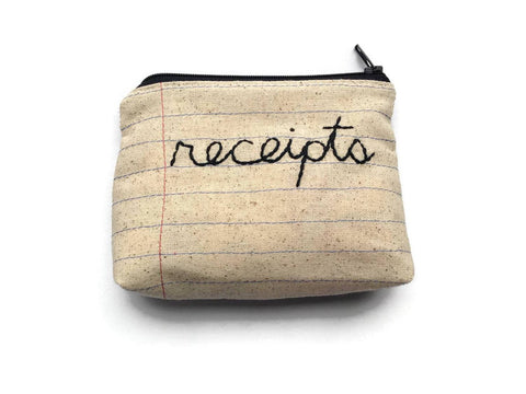 Receipts Bag - Handmade Zip Pouch - Receipt Holder - Keep Track of Your Expenses - Notebook Paper Fabric
