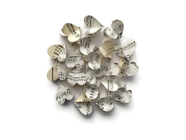 Vintage Sheet Music Paper Heart Garland - Case Pack of 10 - Wholesale