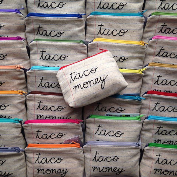 Taco Money Bag - Case Pack of 10 - Wholesale - Handmade Zipper Pouch
