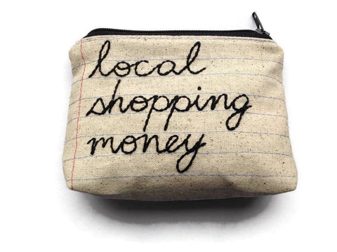 Local Shopping Money Bag - Case Pack of 10 - Wholesale - Handmade Zipper Pouch