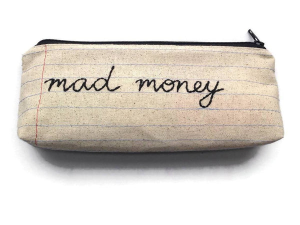 Mad Money Bag - Case Pack of 10 - Wholesale - Handmade Pencil Case Zipper Pouch