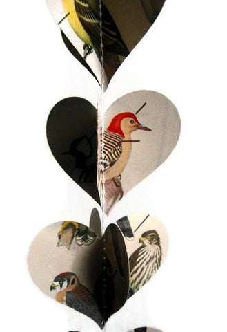 Bird Decoration - Vertical Paper Heart Garland - Classroom Decoration - Handmade in NJ