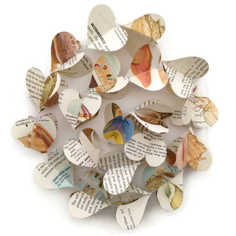 Seashells Heart Garland - Repurposed Vintage Field Guide